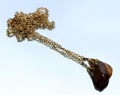 Striped Brown Agate Pendant & Gold Coloured Chain Necklace (c1970s) by GillardAndMay on Etsy