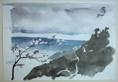 The Storm. Watercolor, brush, paper. 21*29 cm. 1994 year, Koreiz.