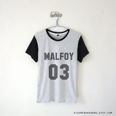 Malfoy 03 Baseball Tee $13.99 ; Draco Malfoy ; Quidditch Shirt ; Harry Potter Clothing ; Graphic Tees ; #HarryPotter #Geek Shop more items at http://kissmebangbang.com/product-category/harry-potter/