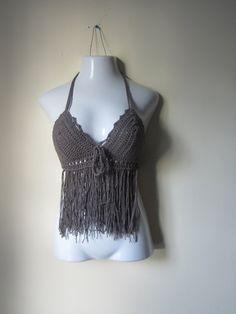 Festival halter top  fringe halter top crochet by Elegantcrochets, $45