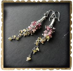 Tourmaline Earrings Sterling Silver and Gemstone Hand by xaosart, $268.00