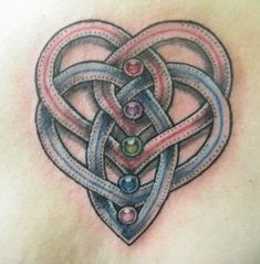 Celtic Motherhood tattoo Intertwined hearts for parents and dots for kids (birth stone colours)