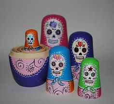 Sugar skull russian dolls