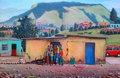 Siyabonga Sikosana one of my favourite artists. South Africa Art, South African Artists, Landscape Paintings, Landscapes, City Art, Camps, Black Art, Caricature, Watercolor