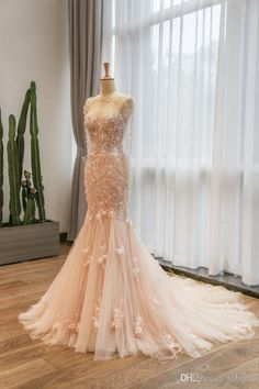 Elegant Mermaid Lace Wedding Dresses Pink Wedding Gown Sweetheart Neckline Bridal Gown Flowers Beaded Wedding Dress Lace Luxury Illusion Online with $195.43/Piece on Hjklp88's Store