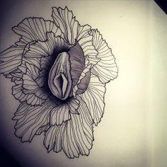 Vagina Flower pour Caro!  #flower #vagina #vaginaflower #flowerstattoo #fleurs…