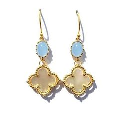 Blue Chalcedony and Quatrefoil Earrings | Available only at Peyton William. www.peytonwilliam.com