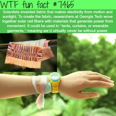 Fabric that generates electricity from motion and light - FACTS
