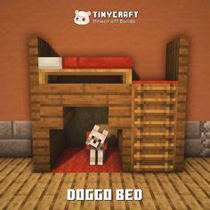 Minecraft Dog House, Minecraft House Tutorials, Minecraft Tutorial, Minecraft Bedroom, Minecraft Designs, Minecraft Crafts, Minecraft Furniture, Minecraft Architecture, Minecraft Buildings
