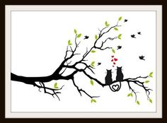 This pattern is of two cats sitting in a tree with hearts and birds around them. The really cute part is their tails. The cats tails are entwined to make the shape of a heart. This patter is perfect for a couple, a wedding or even a cat lover. This is a great cross stitch pattern for a wedding o...