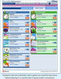 Online math games for Everyday Math