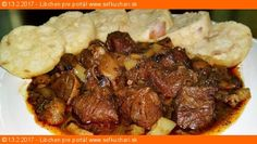 Madeira Beef Stew made with tender cuts of beef, mushrooms, garlic, rosemary and Madeira wine; then slowly simmered in a Dutch oven or crockpot. Beef Broth, Large Bowl, Stew, Crockpot, Slow Cooker, Stuffed Mushrooms, Food And Drink, Cooking, Ethnic Recipes