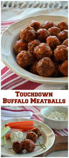 Touchdown Buffalo Meatballs! An easy and make-ahead recipe to kick off your line up of game day or Super Bowl party snacks! #makeaheadrecipe #buffalomeatballs #superbowlparty
