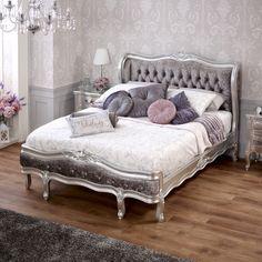 French Silver Leaf 5ft King Size Velvet Upholstered Painted Bed
