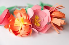 Construction paper flower crowns make a perfect addition to any spring party! These are incredibly simple and would be great for favors or decor.