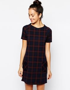 Enlarge New Look Check Print Shift Dress With Pockets