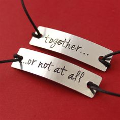 Amy & Rory - Together or Not At All - Cotton Cord Bracelets - Spiffing Jewelry - Doctor Who Mom Jewelry, Metal Jewelry, Bridal Jewelry, Jewelry Gifts, Doctor Who, Tv Doctors, Cord Bracelets, Metal Stamping, Have Time