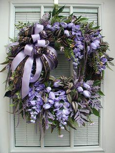Purple Wreath Large Spray Spring Summer Front Door Floral