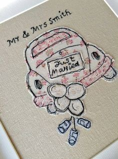 Perfect for a wedding gift, freemotion machine embroidery VW Beetle. Lessons available in Chester and South Wirral. Wedding Embroidery, Embroidery Cards, Free Motion Embroidery, Free Motion Quilting, Embroidery Applique, Fabric Cards, Fabric Postcards, Paper Cards, Freehand Machine Embroidery