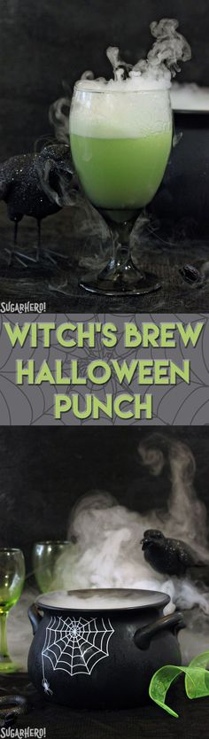 Witch's Brew Halloween Punch - a spooky, sparkling lime punch the whole family will love! | From SugarHero.com