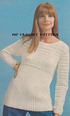 Vintage Long-Line Pullover Sweater Crochet PDF by KatnaboxCrochet