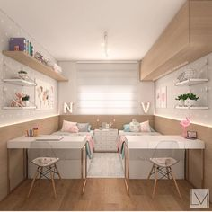The Best in Teen Bedroom Design and Decor! The Best in Teen Bedroom Design and Decor! Teen Bedroom Designs, Cute Bedroom Ideas, Girls Bedroom Decorating, Tiny Bedroom Design, Twin Girl Bedrooms, Teen Shared Bedroom, Shared Rooms, Ikea Teen Bedroom, Twin Baby Rooms