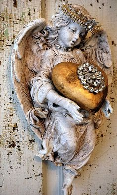Angel statue wall hanging w/ handmade heart and rhinestone crown distressed aged patina shabby cottage chic cherub home decor anita spero by anitasperodesign. Explore more products on http://anitasperodesign.etsy.com