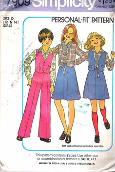 "Vintage 1977 Simplicity 7909 Girl's Shirt, Pants & Reversible Vest and Back Wrap Skirt Sewing Pattern Size D 12 - 14 Breast 30"" - 32"" UNCUT by Recycledelic1 on Etsy"