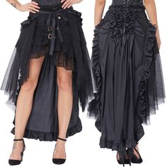 Women Retro Steampunk Skirt Victorian Punk Ruffled Long Lace-up High-Low Skirt