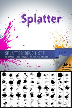 Buy 50 Splatter Brushes by SPetrany on GraphicRiver. 50 Hi-res splatter brushes. Great for adding grunge, paint effects, blood, etc. Please see screenshots for examples. Photoshop Brushes, Photoshop Elements, Photoshop Actions, Adobe Photoshop, Sports Graphic Design, Paint Effects, Photoshop Photography, Web Design Inspiration, Art Tips