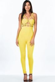 Funky Cage Bustier Neon Yellow Jumpsuit LC6622-1