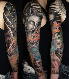Ink on pinterest abstract tattoos chest tattoo and tattoo for How to blend tattoos into a sleeve