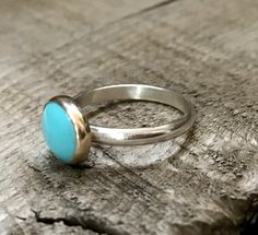 Bright Blue Turquoise 14 Karat Gold and Sterling Silver