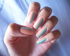 Turquoise and Peach- half and half- pastel shades.