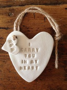 I Carry You in My Heart: white clay heart & personalised tag ~ personalised gift for Valentine's Day ~ Mother's Day ~ birthday