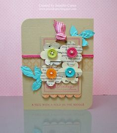 Lovely card... love the colours, the buttons and the layers =)