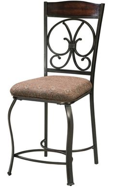 4 Pc Metal Counter Height Stool Bar Kitchen Dining High Bistro Upholstered Chair #SignatureDesign #IndustrialTraditionalRustic