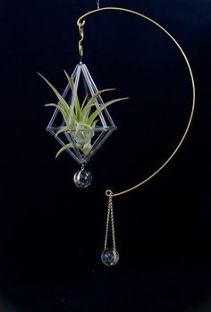 "glass brass mobile <moon> - ""響"" handcraft   spiral-arts.jp"