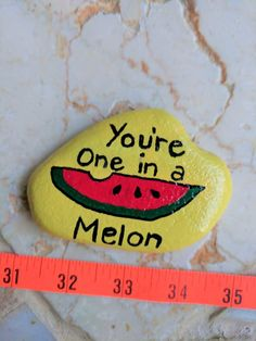 Painted Rocks, Beach Stones, Paperweight, Gifts under Plant Marker, Collectible - Melon Rock Painting Ideas Easy, Painting For Kids, Painted Rocks Kids, Painted Stones, Creative Activities For Kids, Creative Crafts, One In A Melon, Kids Canvas, Stone Painting