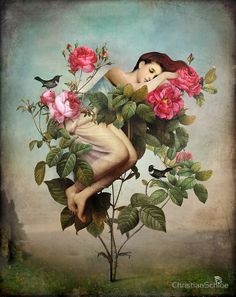 ⊰ Posing with Posies ⊱ paintings & illustrations of women & children with flowers - In Bloom by ChristianSchloe