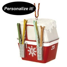 Vintage style gondola with skis Christmas ornament