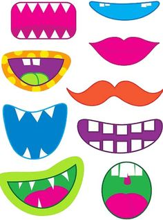 Monster Face Halloween Goody Bags or photo booth props – FREE Printable! Halloween Goodie Bags, Halloween Goodies, Halloween Crafts, Halloween Printable, Printable Pumpkin Faces, Halloween Halloween, Halloween Makeup, Halloween Decorations, Halloween Costumes