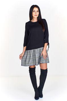 Dámské šaty s káro sukní a 3/4 rukávy s vázáním. High Neck Dress, Sweaters, Dresses, Fashion, Turtleneck Dress, Vestidos, Moda, Fashion Styles, Sweater