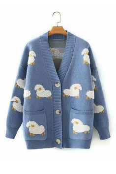 Details: Material: Acrylic SIZE(IN) Shoulder Bust Sleeve Length One Size 21.7 39.4 15.0 24.8 Blue Sweater Outfit, Cardigan Outfits, Blue Cardigan, Cardigan Shirt, Pretty Outfits, Cool Outfits, Indie Outfits, Cute Cardigans, Cool Sweaters