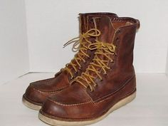 """Vtg Irish Setter Redwing 4583 Red Wing Leather 8"""" Tall Work Boots ..."""