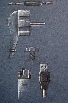 Quick B+W industrial design sketches