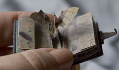 Leonardo da Vinci's Flying Machine as a pop up in a miniature book by Sara Alvarez