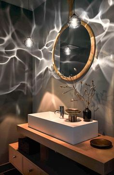 Siemon & Salazar Chandelier / Pendant - Hand Blown Steel Grey Happy American Mid-Century Modern Blown Glass, Nickel # These lights would be SO neat with the theme! Hand Blown Steel Grey Happy Pendant by Siemon and Salazar For Sale at Bathroom Trends, Modern Bathroom Decor, Bathroom Interior, Bathroom Ideas, Bathroom Organization, Bathroom Designs, Minimal Bathroom, Gothic Bathroom, Bathroom Storage
