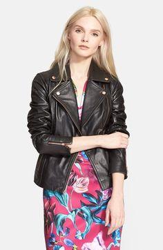 Ted Baker dress + leather jacket