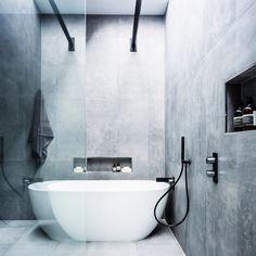 The Block Glasshouse 2014 Bathroom Image 1 The Block Bathroom, Grey Bathroom Tiles, Gray And White Bathroom, Grey Bathrooms, Bathroom Renos, Bathroom Renovations, Bathroom Interior, Modern Bathroom, Small Bathroom
